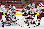 Merrick Madsen (Harvard - 31), Ryan Donato (Harvard - 16), Seb Lloyd (Harvard - 15), Colton Kerfoot (Harvard - 6), Luke Esposito (Harvard - 9), Eddie Ellis (Harvard - 7) - The Harvard University Crimson defeated the US National Team Development Program's Under-18 team 5-2 on Saturday, October 8, 2016, at the Bright-Landry Hockey Center in Boston, Massachusetts.