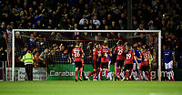 Tempers threaten to boil over after Everton's Gylfi Sigurdsson scores his side's second goal from the penalty spot<br /> <br /> Photographer Chris Vaughan/CameraSport<br /> <br /> The Carabao Cup Second Round - Lincoln City v Everton - Wednesday 28th August 2019 - Sincil Bank - Lincoln<br />  <br /> World Copyright © 2019 CameraSport. All rights reserved. 43 Linden Ave. Countesthorpe. Leicester. England. LE8 5PG - Tel: +44 (0) 116 277 4147 - admin@camerasport.com - www.camerasport.com