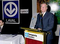FILE - Le Maire de Laval Gilles Vaillancourt lors de l' Annonce du prolongement du metro vers Laval, le 8 Octobre 1998<br /> <br /> <br /> PHOTO : Agence Quebec Presse
