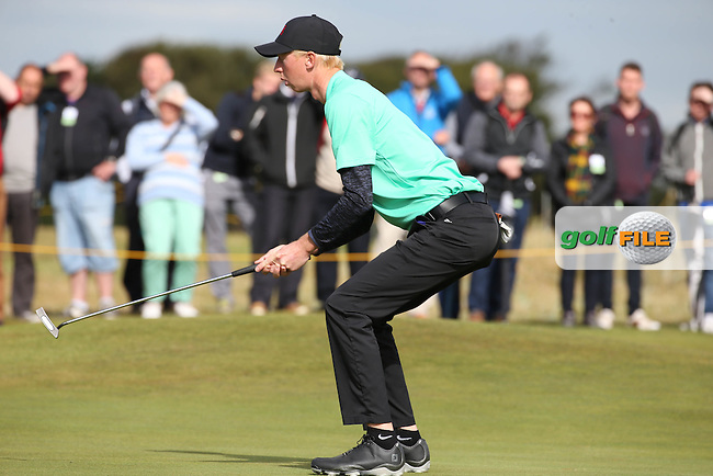 Jimmy Mullen (ENG) ski-sit as his narrowly misses on 13 during Sunday morning Foursome matches of The Walker Cup 2015 played at Royal Lytham and St Anne's, Lytham St Anne's, Lancashire, England. 13/09/2015. Picture: Golffile | David Lloyd<br /> <br /> All photos usage must carry mandatory copyright credit (&copy; Golffile | David Lloyd)
