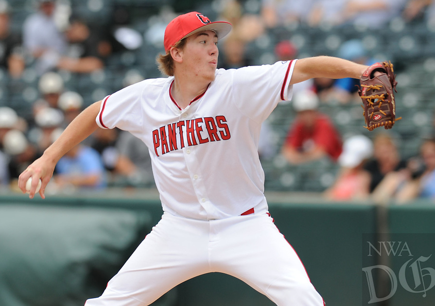 NWA Democrat-Gazette/ANDY SHUPE<br /> Cabot starter Logan Gilbertson delivers to the plate Friday, May 19, 2017, against Springdale Har-Ber during the Class 7A state championship game at Baum Stadium in Fayetteville. Visit nwadg.com/photos to see more photographs from the game.