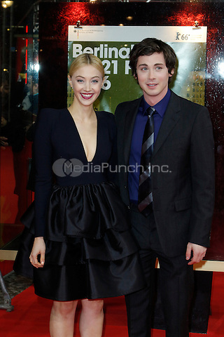 Sarah Gadon and Logan Lerman attending the &quot;Indignation&quot; prremiere held at Zoo Palast during 66th Berlinale International Film Festival, Berlin, Germany, 14.02.2016. <br /> Photo by Christopher Tamcke/insight media /MediaPunch ***FOR USA ONLY***