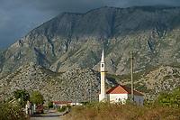 ALBANIA, Shkodra, village with mosque / ALBANIEN, Shkoder, Dorf mit Moschee in den albanischen Alpen