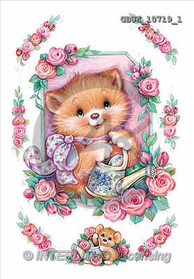 Stephen, CUTE ANIMALS, paintings, cat, roses(GBUK10719/1,#AC#) stickers illustrations, pinturas ,everyday