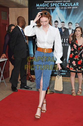"""Eleanor Tomlinson at the """"The Illusionists"""" show press night, Shaftesbury Theatre, Shaftesbury Avenue, London, England, UK, on Wednesday 10th July 2019.<br /> CAP/CAN<br /> ©CAN/Capital Pictures"""