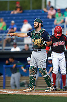Vermont Lake Monsters catcher Nick Collins (20) during a game against the Batavia Muckdogs August 9, 2015 at Dwyer Stadium in Batavia, New York.  Vermont defeated Batavia 11-5.  (Mike Janes/Four Seam Images)