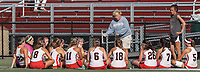 Watertown, Massachusetts - September 7, 2017: Field Hockey. Watertown (white/red) defeated Reading (red/black). Watertown's 124th consecutive win, and the nation's longest unbeaten streak in high school field hockey at 184 games.