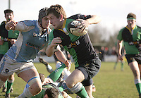 Ballynahinch winger Kyle Corrigans races in to score the second Hinch try during the AIB Cup semi-final against Garryowen at Ballymacarn Park, Ballynahinch. Mandatory Credit - John Dickson