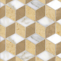 Euclid, a hand-cut mosaic shown in polished Calacatta, honed Sylvia Gold  and honed Lagos Gold, is part of the Illusions™ collection by Sara Baldwin  for New Ravenna.