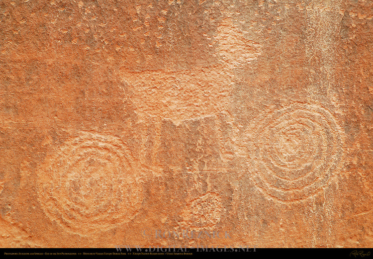 Pronghorn Antelope and Spirals, Eye of the Sun Petroglyph Wall, Monument Valley Navajo Tribal Park, Navajo Nation Reservation, Utah/Arizona Border