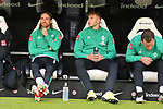 06.10.2019, Commerzbankarena, Frankfurt, GER, 1. FBL, Eintracht Frankfurt vs. SV Werder Bremen, <br /> <br /> DFL REGULATIONS PROHIBIT ANY USE OF PHOTOGRAPHS AS IMAGE SEQUENCES AND/OR QUASI-VIDEO.<br /> <br /> im Bild: Bank mit Michael Lang (SV Werder Bremen #4), Luc Ihorst (SV Werder Bremen #29) und Philipp Bargfrede (#44, SV Werder Bremen)<br /> <br /> Foto © nordphoto / Fabisch
