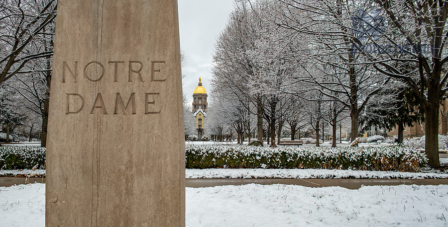 January 4, 2020; The Main Building and Golden Dome after a snowfall.  (Photo by Barbara Johnston/University of Note Dame)