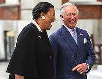 12 July 2016 - Patricia Scotland, Baroness Scotland of Asthal, Commonwealth Secretary General, Prince Charles Prince of Wales, at Marlborough House in London. HRH The Prince of Wales was attending the Commonwealth Local Government Forum's Annual Reception. HRH The Prince of Wales met delegates and heard issues around sustainability and urbanisation being discussed at the CLGF's second Commonwealth Sustainable Cities Network conference. Photo Credit: ALPR/AdMedia
