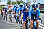 The peloton led by Movistar Team and Deceuninck-Quick Step during the 83rd edition of La Fl&egrave;che Wallonne 2019, running 195km from Ans to Huy, Belgium. 24th April 2019<br /> Picture: ASO/Gautier Demouveaux | Cyclefile<br /> All photos usage must carry mandatory copyright credit (&copy; Cyclefile | ASO/Gautier Demouveaux)