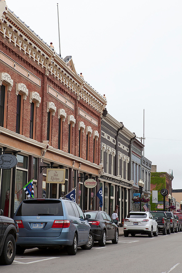 Main street (River street) in small town America, Manistee, Michigan, USA