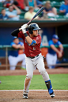 Jose Caraballo (6) of the Idaho Falls Chukars bats during a game against the Ogden Raptors at Lindquist Field on August 29, 2018 in Ogden, Utah. Idaho Falls defeated Ogden 15-6. (Stephen Smith/Four Seam Images)
