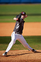 Union Dutchmen relief pitcher Anthony DeSantis (23) delivers a pitch during a game against the Farmingdale Rams on March 21, 2016 at Chain of Lakes Stadium in Winter Haven, Florida.  Farmingdale defeated Union 17-5.  (Mike Janes/Four Seam Images)
