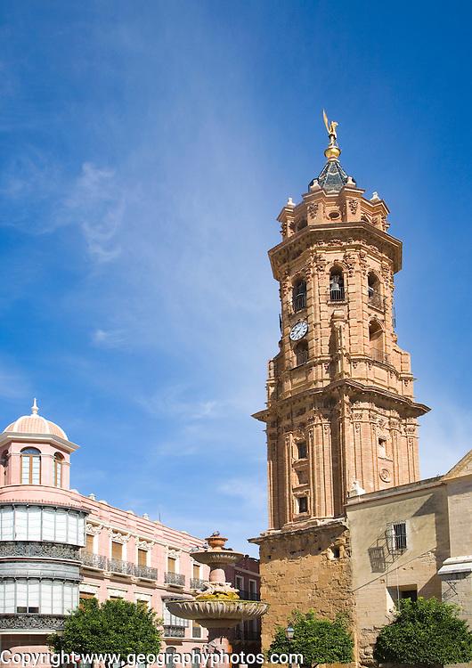 San Sebastian church tower San Sebastian, town centre of Antequera, Malaga province, Spain