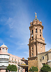 San Sebastian church tower San Sebastian, town centre of Antequera, Malaga province, Spain