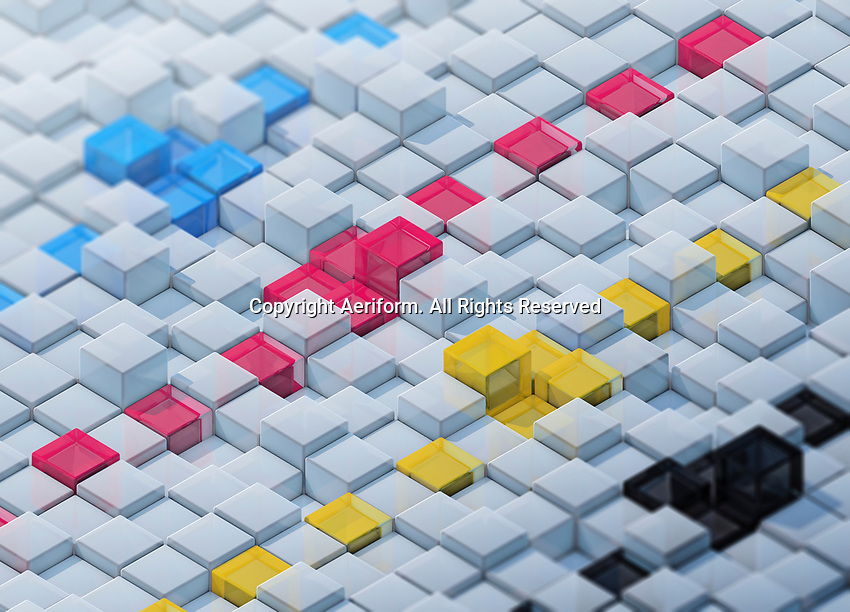 CMYK colored cubes standing out in rows from uneven surface pattern