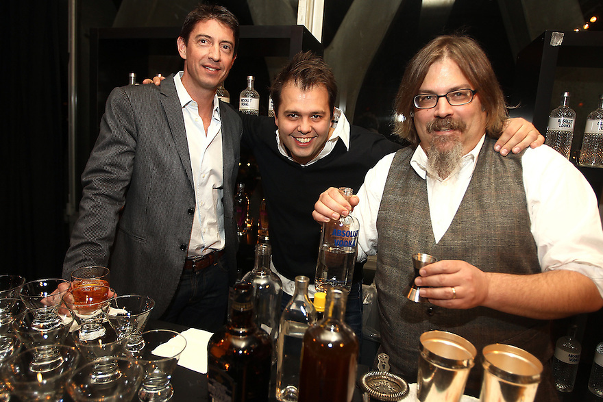 Guest, Simon Ford and David Wondrich pose for a photo at a private diner provided bye Absolut Vodka at a private location on Nov 12, 2010. ( For Pernod Ricard)