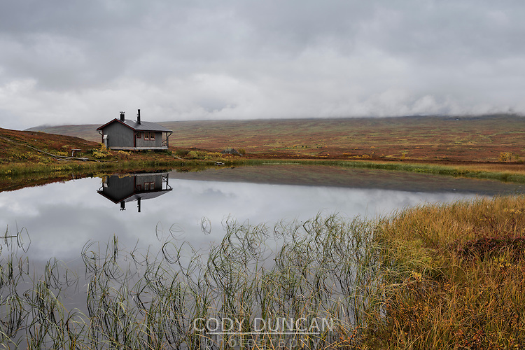 Sauna on shore of small lake at STF Aigert hut, Kungsleden trail, Lapland, Sweden