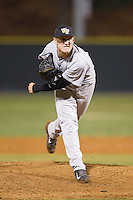 Wake Forest Demon Deacons relief pitcher Mark McCoy (41) in action against the Davidson Wildcats at Wilson Field on March 19, 2014 in Davidson, North Carolina.  The Wildcats defeated the Demon Deacons 7-6.  (Brian Westerholt/Four Seam Images)