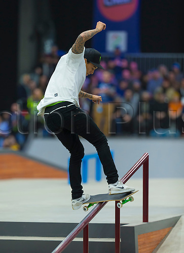 25.02.2016. Warehouse 13  Oslo, Norway.  X Games Oslo 2016. Mens Skateboard final. Nyjah Huston of United States competes in the men's skateboard street final  during the X Games Oslo 2016 at the warehouse 13  in Oslo, Norway.