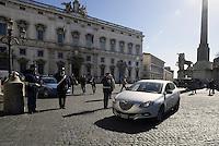 Roma, 14 Febbraio 2014<br /> Quirinale<br /> Enrico Letta arriva da solo guidando l'automobile per rassegnare le dimissioni