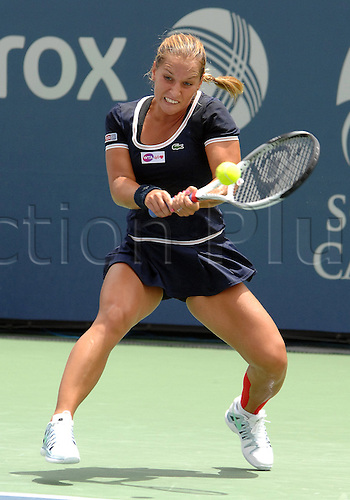 31.07.2013.la Costa Country Club, Carlsbad, California, USA.  Dominika Cibulkova (SVK) returns a shot during a match against Ana Ivanovic (SRB) during the Southern California Open played at the La Costa Resort & Spa in Carlsbad CA.