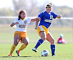 BROOKINGS, SD - OCTOBER 18: Amy Yang #10 from North Dakota State applies pressure to Nicole Hatcher #10 from South Dakota State during their game Sunday afternoon at Fischback Soccer Field in Brookings. (Photo by Dave Eggen/Inertia)