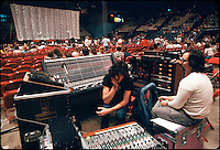 Yes performing at the New Haven Coliseum on 9 August 1977. Sound Booth Engineers prepping before the live show. Credit Photograph: James R Anderson, New Haven CT
