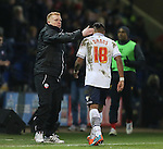 Bolton manager Neil Lennon consoles red carded Neil Danns of Bolton Wanderers - FA Cup Fourth Round replay - Bolton Wanderers vs Liverpool - Macron Stadium  - Bolton - England - 4th February 2015 - Picture Simon Bellis/Sportimage