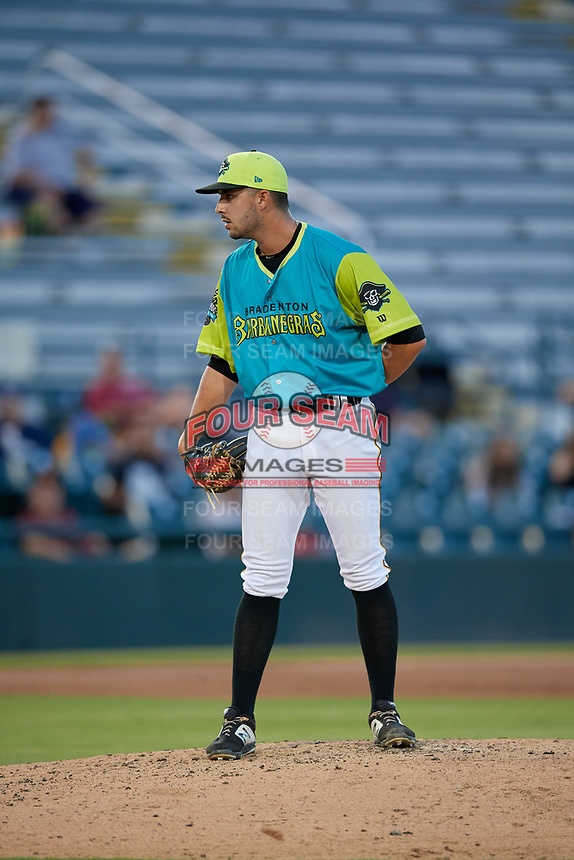 Bradenton Barbanegras relief pitcher Joe Jacques (30) during a Florida State League game against the St. Lucie Mets on July 27, 2019 at LECOM Park in Bradenton, Florida.  Bradenton defeated St. Lucie 3-2.  (Mike Janes/Four Seam Images)