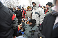 """Crowds gather at the """"We Are One"""" concert in celebration of Barack Obama's inauguration as president of the United States at the Lincoln Memorial in Washington DC on January 18, 2009."""