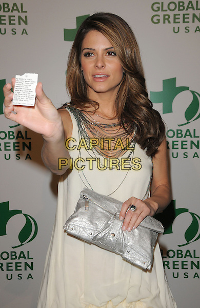 MARIA MENOUNOS wearing a dress made from Milk.The 6th Annual Global Green USA Pre-Oscar Party benefiting Green Schools held at Avalon in Hollywood, California, USA..February 19th, 2009.half length white sleeveless dress clutch bag  silver necklaces hand note paper .CAP/DVS.©Debbie VanStory/Capital Pictures.
