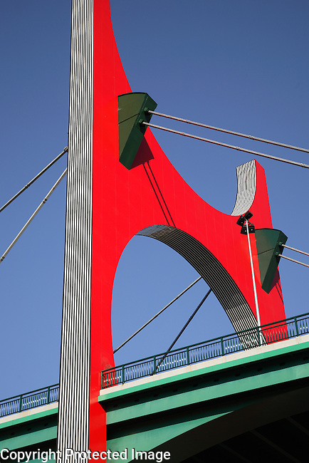 Puente de la Salve, Bridge by Buren, Bilbao, Basque Country, Spain