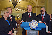 United States Senate Minority Leader Harry Reid (Democrat of Nevada) meets reporters in the US Capitol following the Democratic Senate Policy luncheon in Washington, DC, April 19, 2016. From left to right: US Senator Patty Murray (Democrat of Washington); US Senator Dick Durbin (Democrat of Illinois); Leader Reid; and US Senator Chuck Schumer (Democrat of New York).<br /> Credit: Ron Sachs / CNP