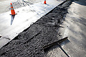 The reclaimed water pipeline is covered with fresh asphalt. The cities of Palo Alto and Mountain View are jointly constructing a reclaimed water pipeline to carry recycled water from the Palo Alto Regional Water Quality Control Plant to customers along East Bayshore Parkway and Mountain View's North Bayshore area.