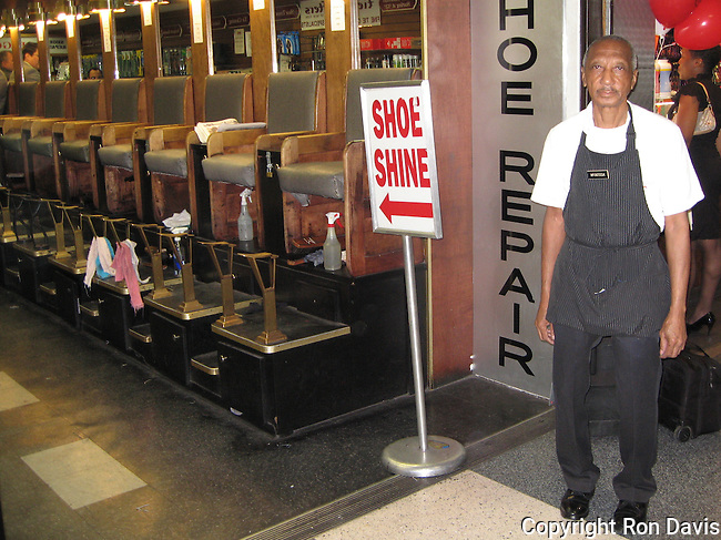 James McIntosh - shoe shine man at Penn Station, NYC. He's been shining shoes for over 70 years, since he was 6 years old.
