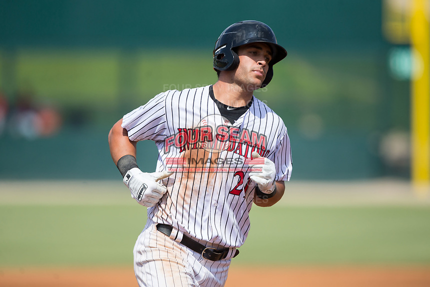 Aaron Schnurbusch (21) of the Kannapolis Intimidators rounds the bases after hitting a home run against the Hagerstown Suns at Kannapolis Intimidators Stadium on July 9, 2017 in Kannapolis, North Carolina.  The Intimidators defeated the Suns 3-2 in game one of a double-header.  (Brian Westerholt/Four Seam Images)