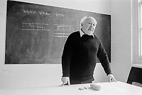 #77213  Walter Segal, architect, at the Architectural Association School of Architecture, London.  1975.