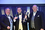 Gary Redpath, Belfast School of Performing Arts, winner of the Best Pregramme for their production of &quot;Les Miserables' receiving the trophy from on  left, Colm Moules, President, AIMS and Seamus Power, Vice-President at the Association of Irish Musical Societies annual awards in the INEC, KIllarney at the weekend.<br /> Photo: Don MacMonagle -macmonagle.com<br /> <br /> <br /> <br /> repro free photo from AIMS<br /> Further Information:<br /> Kate Furlong AIMS PRO kate.furlong84@gmail.com