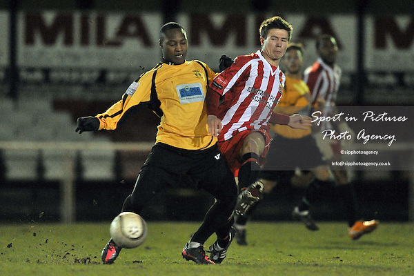 Benson Nzuruba (Cheshunt, left) and James Love (Hornchurch). AFC Hornchurch Vs Cheshunt. Capital League. The Stadium. Essex. 21/02/2012. MANDATORY Credit Garry Bowden/Sportinpictures - NO UNAUTHORISED USE - 07837 394578.