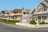 Homes, many available for summer rentals, on Ocean Avenue in Oak Bluffs, Massachusetts on Martha's Vineyard.
