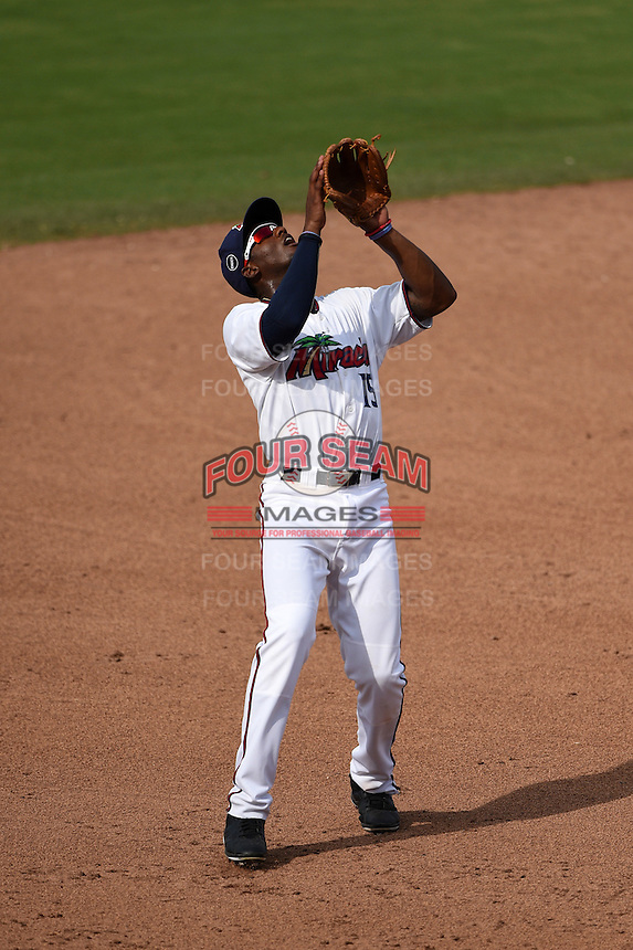 Fort Myers Miracle third baseman Niko Goodrum (15) catches a pop up during a game against the St. Lucie Mets on April 19, 2015 at Hammond Stadium in Fort Myers, Florida.  Fort Myers defeated St. Lucie 3-2 in eleven innings.  (Mike Janes/Four Seam Images)