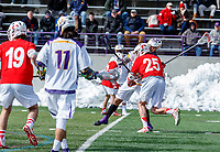 University at Albany Men's Lacrosse defeats Cornell 11-9 on Mar 4 at Casey Stadium.  Tehoka Nanticoke (#1) shoots  and scores the first goal against Cornell defender Fleet Wallace (#25).
