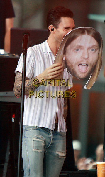 September 01, 2014: Adam Levin   of Maroon 5 perform  at NBC's Today Show Concert Series and wearing James Valentine mask  in New York.<br /> CAP/MPI/RW<br /> &copy;RW/MPI/Capital Pictures