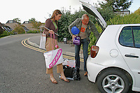 Father helping his new student daughter move in , University of Surrey.