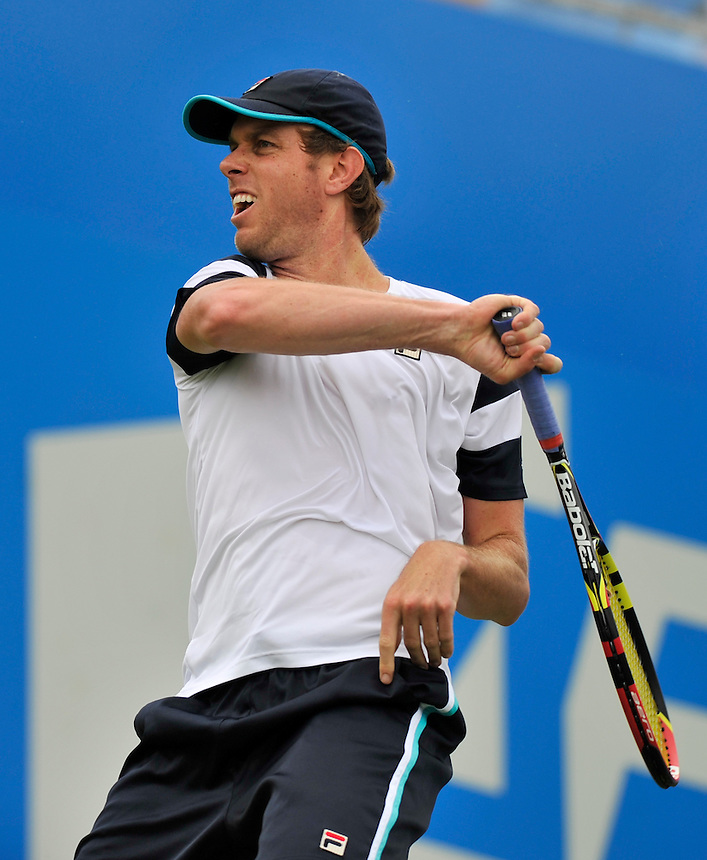 Sam Querrey (USA) in action today during his defeat by Grigor Dimitrov (BUL) in their Men&rsquo;s Singles Second Round match<br /> <br /> Grigor Dimitrov (BUL) Def Sam Querrey (USA) 4-6, 6-3, 6-4<br /> <br /> Photographer Ashley Western/CameraSport<br /> <br /> Tennis - ATP 500 World Tour - AEGON Championships- Day 2 - Tuesday 16th June 2015 - Queen's Club - London <br /> <br /> &copy; CameraSport - 43 Linden Ave. Countesthorpe. Leicester. England. LE8 5PG - Tel: +44 (0) 116 277 4147 - admin@camerasport.com - www.camerasport.com